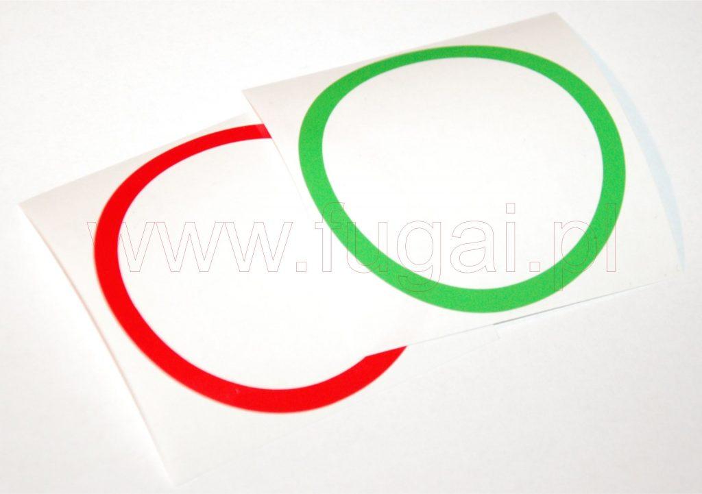 Pierścienie z folii do wizualizacji ciśnienia na manometrach w kolorach zielonym i czerwonym.