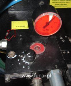 Prawidłowa lokalizacja etykiety z zakresem ciśnienia