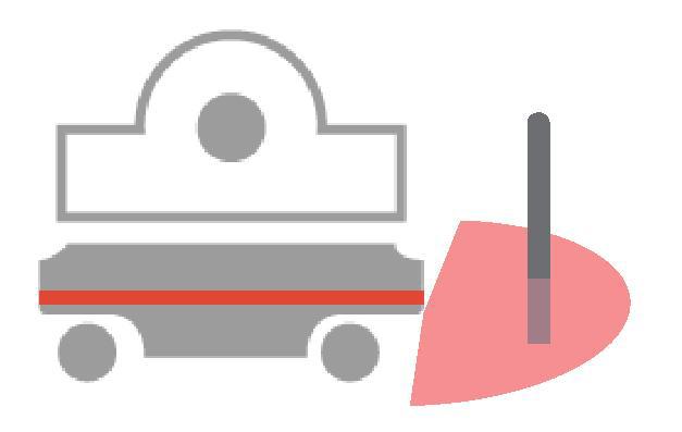 Pojazd zatrzymuje się jeśli w strefie chronionej wykryto przeszkodę